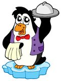Penguin waiter on icebeg Stock Photo