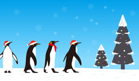 Penguin walking with Christmas hat, greeting card design Royalty Free Stock Images