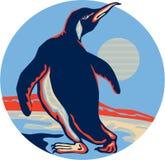 Penguin Walking Moon Retro Stock Photos