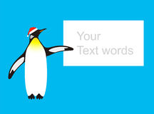 Penguin wearing the christmas hat, pointing to the blackboard Stock Photos