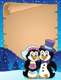 Penguin wedding theme parchment 2 royalty free stock images