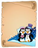 Penguin wedding theme parchment 1 royalty free stock images