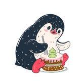Penguin. Winter illustration. Funny cartoon penguin with cake. Vector Royalty Free Stock Photo