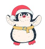 Penguin. Winter illustration with funny cartoon penguin in  Christmas hat. Vector Royalty Free Stock Photo