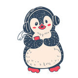 Penguin. Winter illustration with funny cartoon penguin in the headphones and the players. Vector vector illustration