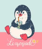 Penguin. Winter illustration with funny cartoon penguin with  lemonade. Vector Stock Images