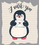 Penguin. Winter illustration with funny cartoon penguin with a letter. Vector vector illustration