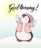 Penguin. Winter illustration with funny cartoon penguin and lettering `Good morning`. Vector Stock Image