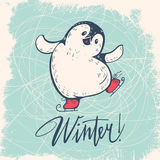 Penguin. Winter illustration with funny cartoon penguin on skates. Vector royalty free illustration