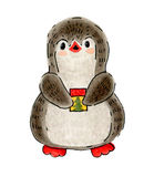 Penguin. Winter illustration with funny cartoon penguin on skis with Christmas gift.  Drawing with markers isolated on a white background Stock Image