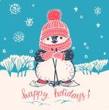 Penguin. Winter illustration with funny cartoon penguin on skis. Vector stock illustration