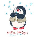 Penguin. Winter illustration with funny cartoon penguin with snowflake. Vector Stock Photography
