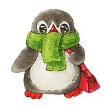 Penguin. Winter illustration with funny cartoon penguin  in a warm scarf isolated on a white background.  Drawing with markers Stock Photography