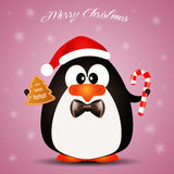 Penguin wishes Merry Christmas Royalty Free Stock Image