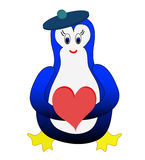 Penguin With Heatr Royalty Free Stock Image