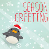 Penguin - xmas greeting card Stock Photography
