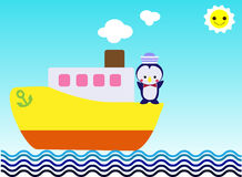 Penguin on the yellow ship to travel on the ocean Royalty Free Stock Images