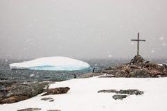 Penguins, σφραγίδες και παγόβουνα Σκοτεινή χιονώδης ημέρα σε Petermann Isl Στοκ εικόνα με δικαίωμα ελεύθερης χρήσης