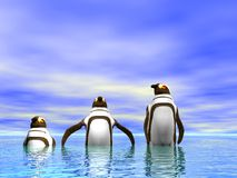 Penguins. An Illustration of penguins in an ocean Stock Image
