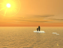Penguins: A 2020 Vision. Two penguins adrift on the final piece of the South Pole of a devastated and overheated planet. Is this the vision of our future Stock Image