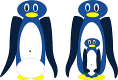 Penguins. Illustration (vector) of two penguins with egg and young penguin Royalty Free Stock Image