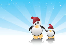 Penguins. Vector illustration of two penguins hand in hand Stock Photo