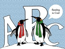Penguins with ABC: Reading is Cool. This is my original drawing of two penguins standing in the snow in front of the letters A, B, and C. One penguin says to the stock illustration