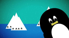 Penguins. Animation of penguins and winter scene stock video