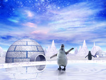 Penguins in Antarctica. Beautiful Photomontage for cards or background Stock Photography