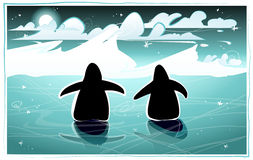 Penguins in the arctic night Royalty Free Stock Photography