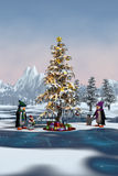 Penguins around a Christmas tree in a winter Royalty Free Stock Photo