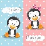 Penguins boy and girl Royalty Free Stock Images