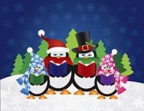 Penguins Carolers με τη χειμερινή σκηνή νύχτας Στοκ Εικόνες