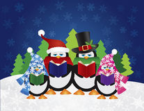 Penguins Carolers with Night Winter Scene. Penguins Christmas Carolers with Hats and Scarfs with Night Winter Snow Scene and Random Music Notes Background Stock Images