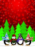 Penguins Carolers Singing with Red Winter Scene. Penguins Carolers Singing Christmas Songs with Snowing Winter Scene Illustration on Red Background Stock Photography