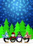 Penguins Carolers Singing in Winter Snowing Scene. Penguins Carolers Singing Christmas Songs with Snowing Winter Scene Illustration Stock Photo
