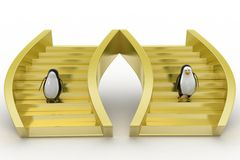 Penguins cartoon walking  on golden steps Royalty Free Stock Photography
