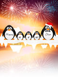 Penguins celebrate the New Year Stock Image
