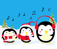 Penguins Christmas Carolers. Cartoon art Stock Images