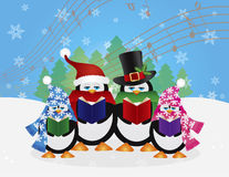 Penguins Christmas Carolers Snow Scene Illustration. Penguins Christmas Carolers with Hats and Scarfs with Winter Snow Scene and Random Music Notes Background Royalty Free Stock Photos