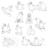 Penguins - Christmas Set Stock Photos