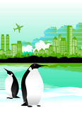 Penguins and city vector Stock Photography
