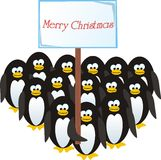 Penguins congratulate on Christmas. Crowd of cheerful penguins congratulate on Christmas Royalty Free Stock Photo