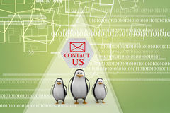 Penguins with contact us concept Illustration Royalty Free Stock Photos