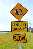 Penguins crossing road sign Stock Photos