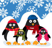 Penguins family vector illustration