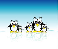 Penguins family. Funny family of penguins and south pole Stock Photos
