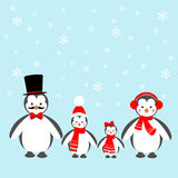 Penguins Family Icon. On the blue background. Vector illustration Royalty Free Stock Photos