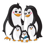 Penguins family on white background. Royalty Free Stock Photo