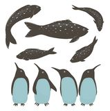 Penguins and Fish Collection Royalty Free Stock Photos